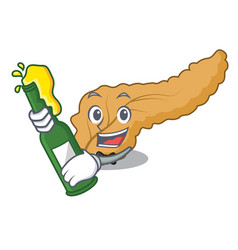 With beer pancreas mascot cartoon style vector