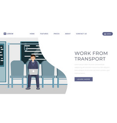 work from transport landing page template vector image