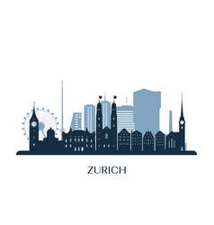 zurich skyline monochrome silhouette vector image