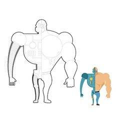 Bionic robot coloring book Cyber-man of future vector image