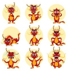 Chinese Dragon Mascot Emoticons Set vector image