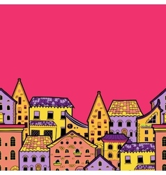 Houses Border Pink vector image
