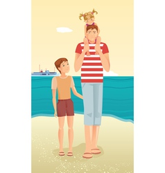 Man with little girl and boy vector image vector image