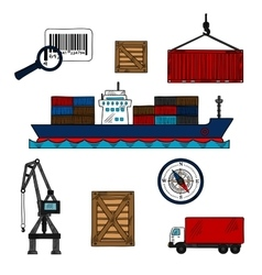 Shipping and delivery industry icons vector image vector image