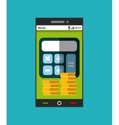 smartphone with calculator and coins icons vector image