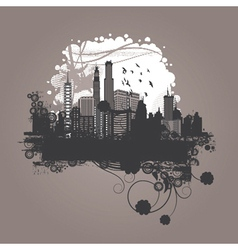 vintage city background with floral vector image vector image