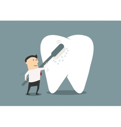 Businessman cleaning a big tooth with toothbrush vector image