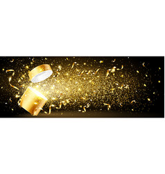 golden gift with confetti vector image