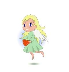 Anime cute angel holding a heart vector image