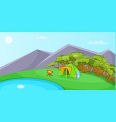 camping horizontal banner cartoon style vector image