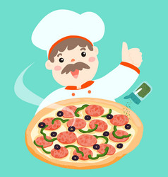 cartoon character chef with hot pizza vector image vector image