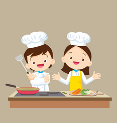 cute little chef boy and girl vector image