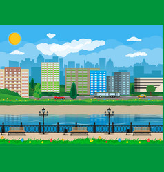 modern city view waterfront river embankment vector image
