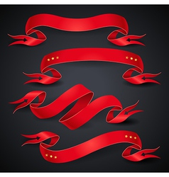 red ribbons black vector image vector image