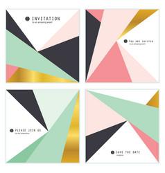 set of 4 creative universal invitation cards vector image