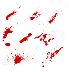 set of blood splashes isolated on white vector image