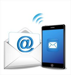 Smartphone sending email vector image vector image