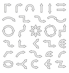 arrows collection with line style and black color vector image