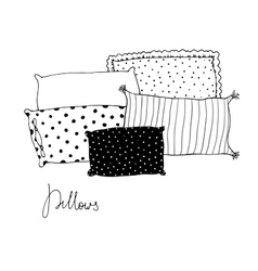 Beautiful pillows on a white background vector image