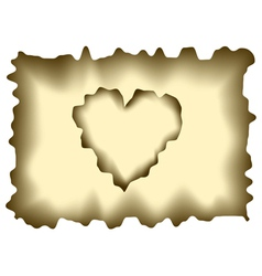 Burnt heart shaped paper vector image