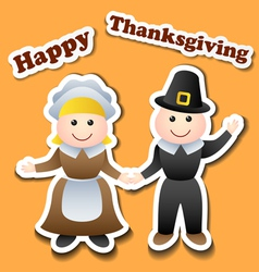 Cartoon pilgrim stickers for Thanksgiving vector image vector image