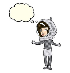 cartoon woman wearing astronaut helmet with vector image vector image