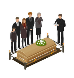 Funeral ritual mourning concept burial grave vector