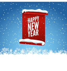 Happy New Year greeting card Red curved paper vector image