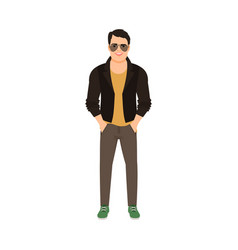 man in leather jacket vector image vector image
