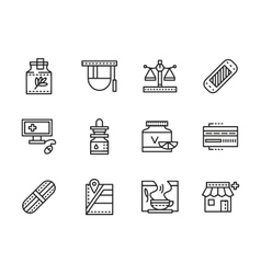 Medical black line icons Pharmacy vector image