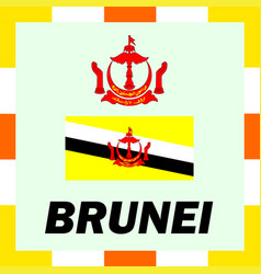 official ensigns flag and coat of arm of brunei vector image vector image