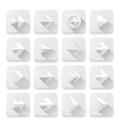 Set arrows icons white app buttons web design vector image