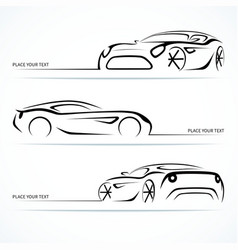 Set of modern car silhouettes vector image vector image