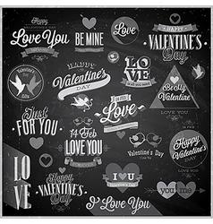 valentine emblems chalk vector image vector image