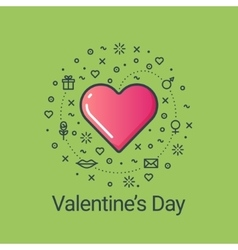Valentines day green flat line heart vector image