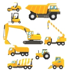 Yellow Construction Cars And Machinery Set Of vector image vector image