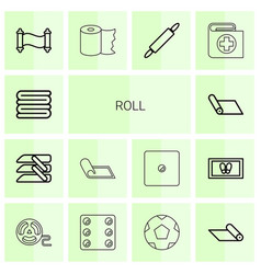 14 roll icons vector image