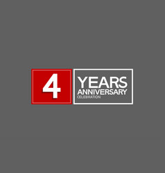 4 years anniversary in square with white and red vector