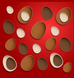 Abstract chocolate easter eggs on red background vector