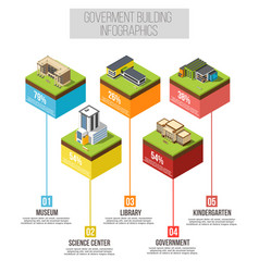 Administrative building isometric infographics vector