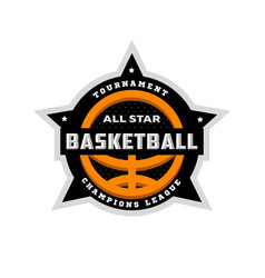 all star basketball sports logo emblem vector image