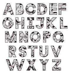 Black-and-white alphabet vector image