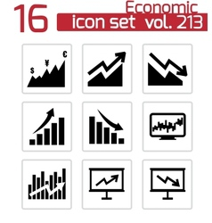 black economic icons set vector image