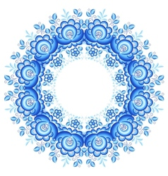 Blue floral round frame in gzhel style vector