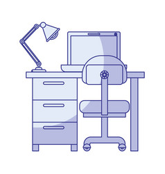 Blue shading silhouette of desk home with chair vector