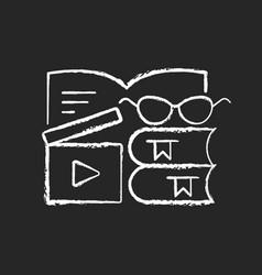 Book review videos chalk white icon on dark vector