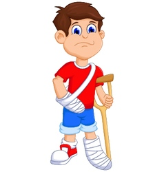 Boy cartoon broken arm and leg vector