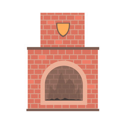 Brick home fireplace vector