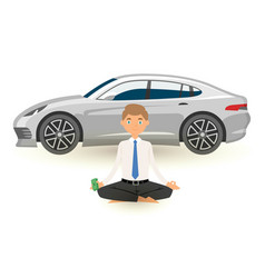 businessman yoga meditation with pack dollars vector image