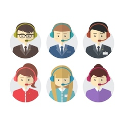 Call center operator icons with a smiling friendly vector